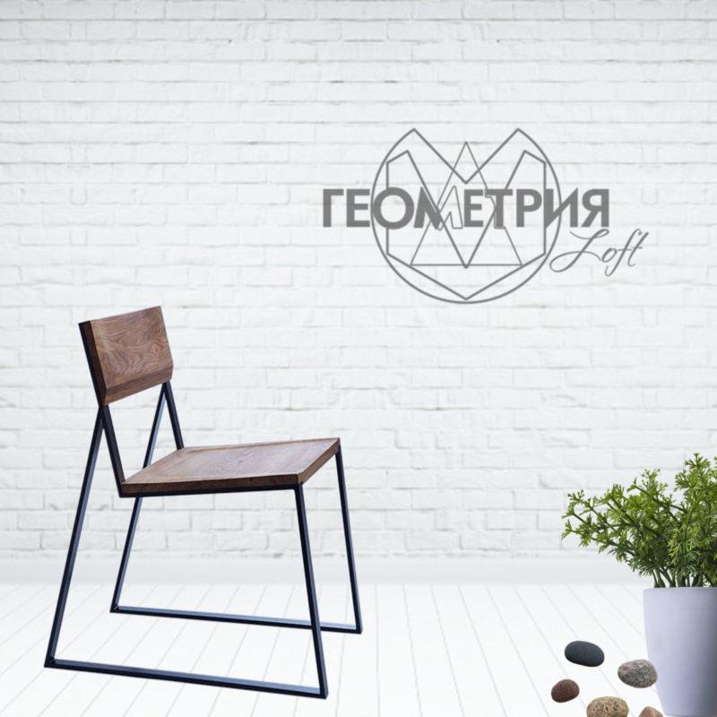 стул в стиле лофт из массива и металла
