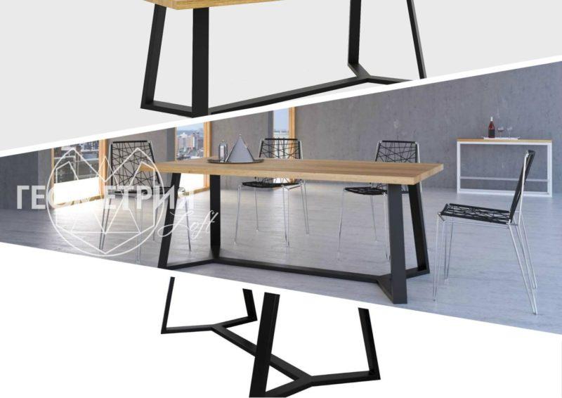 Обеденный стол для столовой в стиле Лофт . Артикул stl - 20
