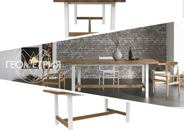 Семейный обеденный стол лофт. Артикул stl - 21