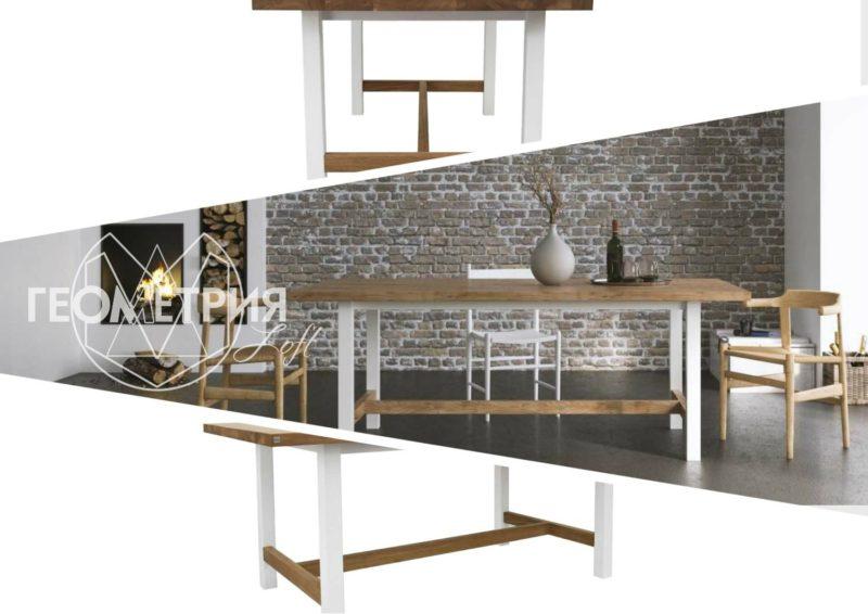 Семейный обеденный стол лофт. Артикул stl - 21 1