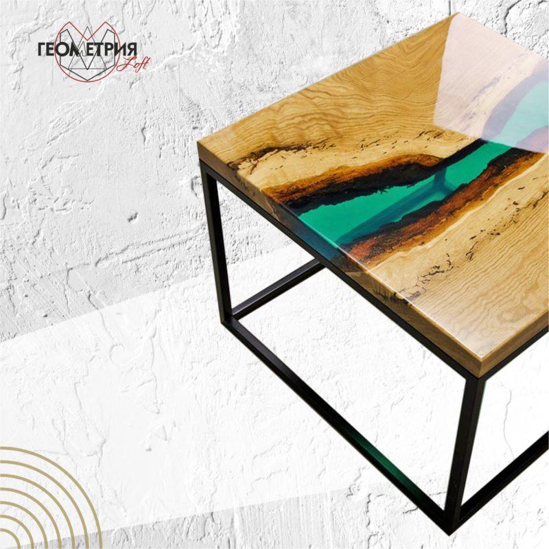Журнальный квадратный столик со смолой. Артикул zr- 3 3