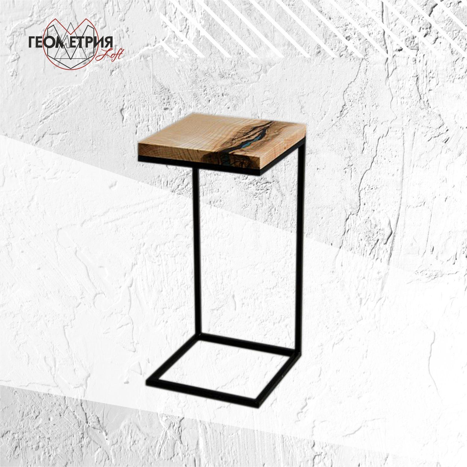 Прикроватный столик в стиле лофт из ясеня