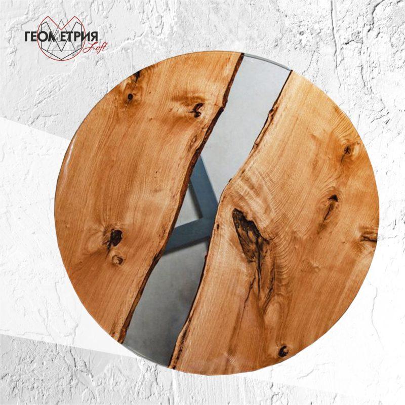 Круглый стол лофт с прозрачной рекой. Артикул zr-8 3