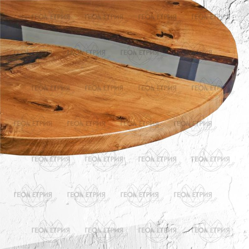 Круглый стол лофт с прозрачной рекой. Артикул zr-8 2
