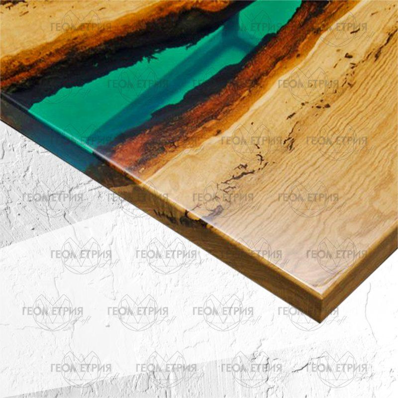 Журнальный квадратный столик со смолой. Артикул zr- 3 1
