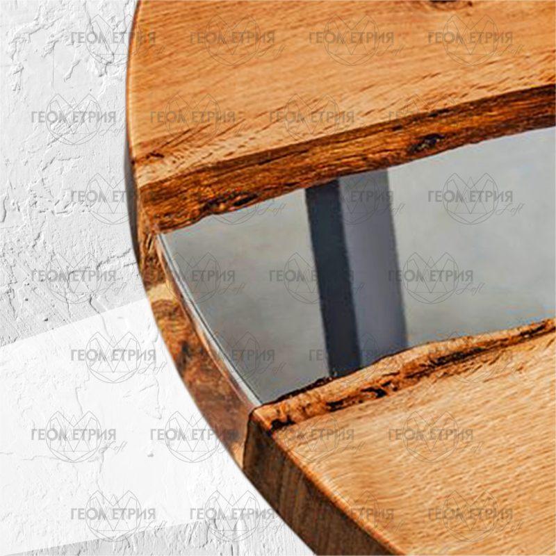 Круглый стол лофт с прозрачной рекой. Артикул zr-8 1