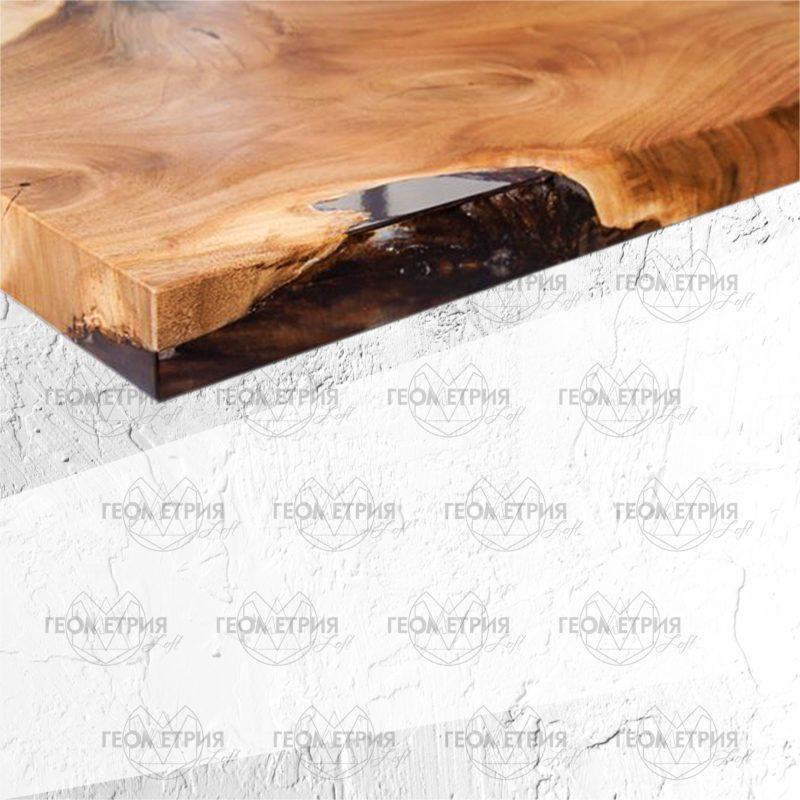 Журнальный столик из дерева и смолы. Артикул zr-2