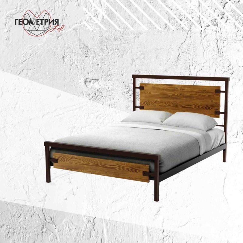 Кровать в стиле лофт из дерева и металла
