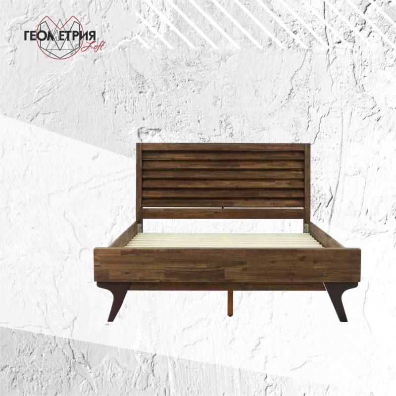 Кровать двуспальная из массива дерева от производителя. Артикул kl-2