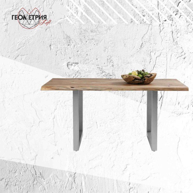 Стильный стол лофт на подстолье из нержавеющей стали