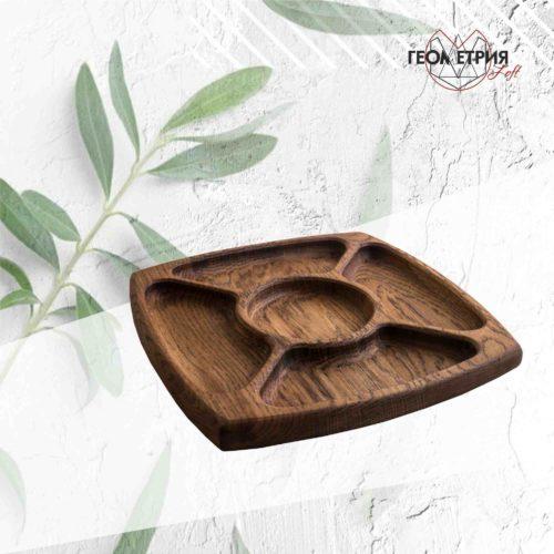 Менажница 5 секционная из натурального дерева для ресторанов