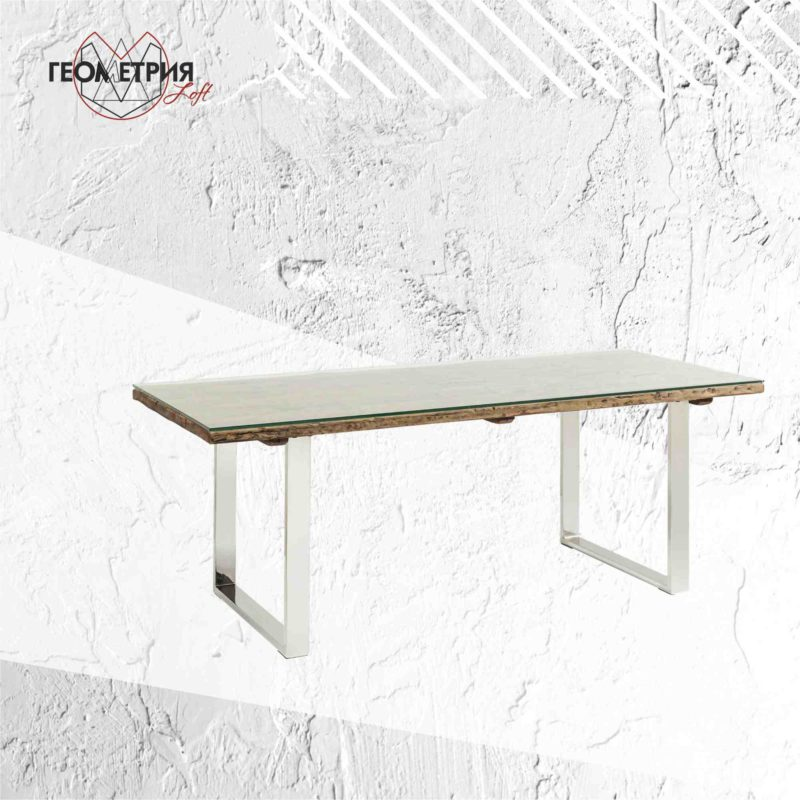 стол обеденный стекло хром