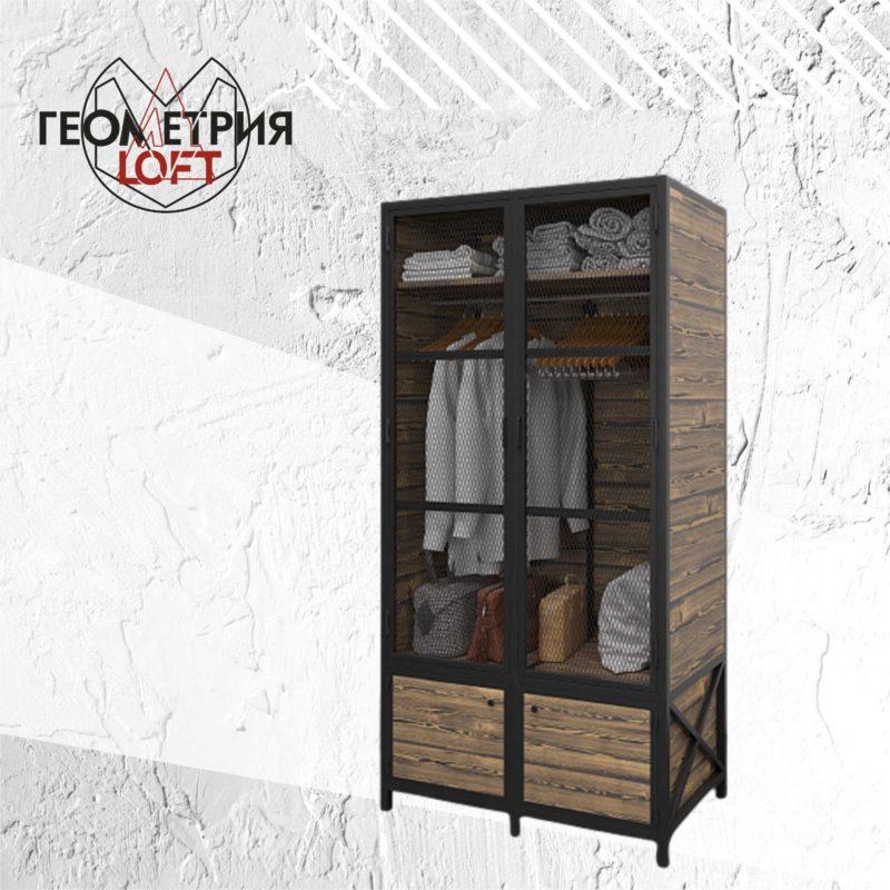 Шкаф из дерева лофт и металла