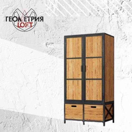 Шкаф в стиле лофт из металла и массива