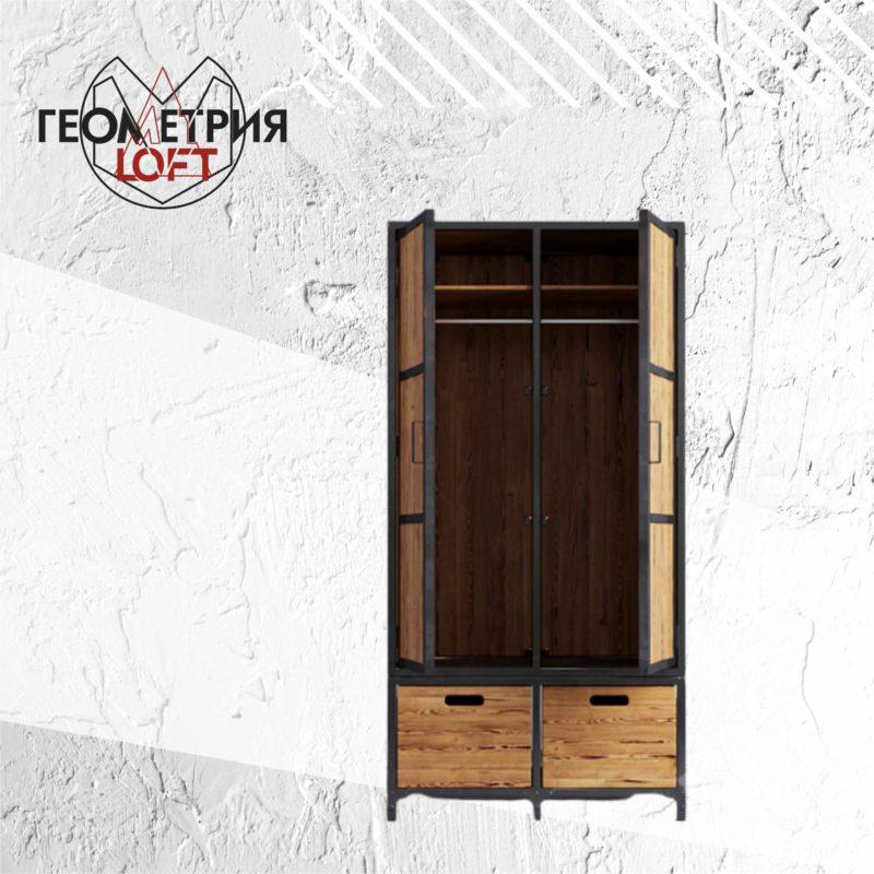 Шкаф в стиле лофт из металла и массива. Артикул shz-2 1