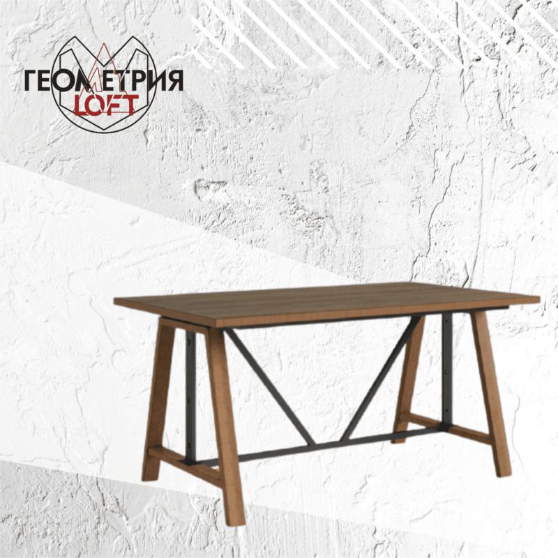 Стол на подстолье из дерева и металла